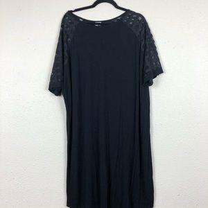 ASOS Black Shirt Dress W/ Sheer Windowpane Sleeve